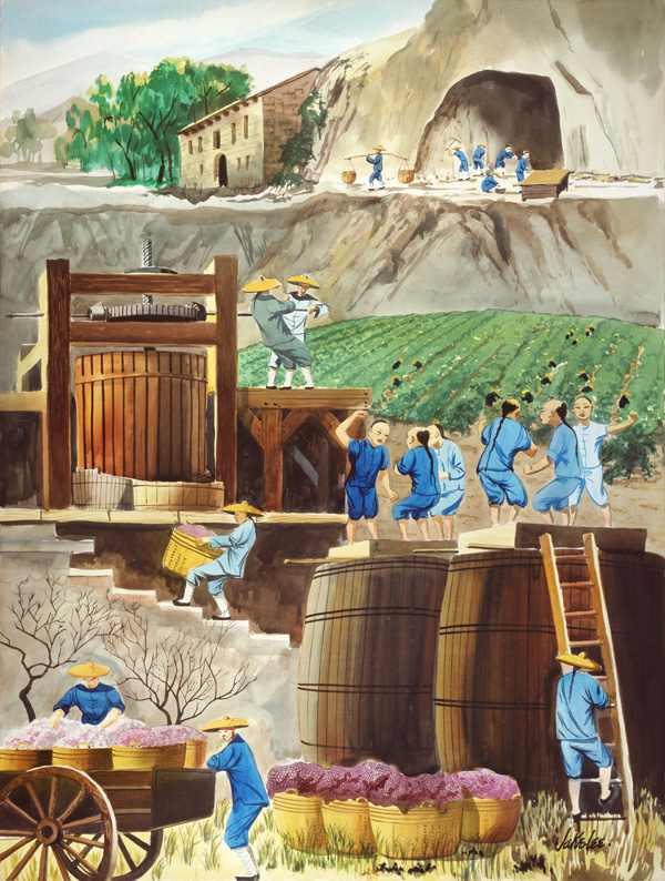 <strong>Jake Lee (1915-1991), <em>Vineyard Workers in Sonoma County</em>, ca. 1950s. Watercolor on paper. Courtesy of Chinese Historical Society of America (CHSA). © Chinese Historical Society of America.</strong>