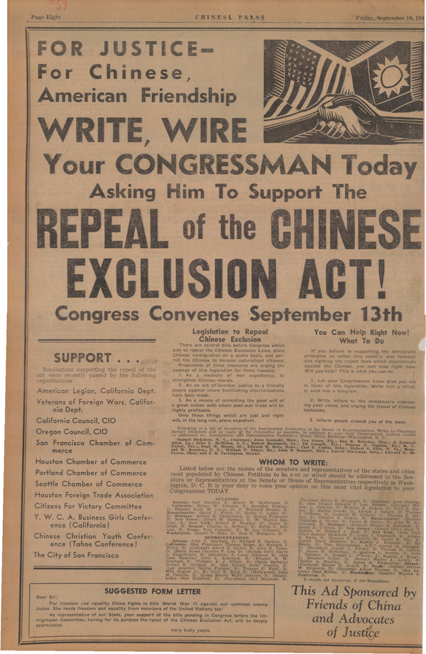 "<strong>""Write Your Congressman,"" <em>Chinese Press</em>, September 10, 1943. Courtesy of Chinese Historical Society of America (CHSA).</strong>"