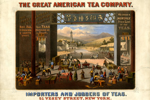<strong><em>Great American Tea Company advertisement</em></strong><strong>, ca. 1860.New-York Historical Society, Gift of Bella C. Landauer.</strong>