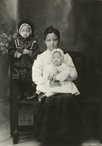 Anna May Wong (as a baby) with her mother, Mrs. Wong Sam Sing, and sister, Ying Wong, ca. 1905. Courtesy of Wisconsin Center for Film and Theater Research.